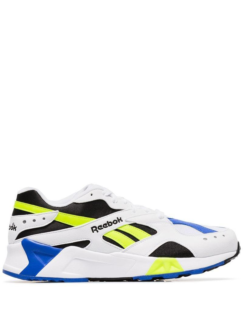 Reebok - White Multicoloured Aztrek Faux Leather Low Top Sneakers for Men -  Lyst. View fullscreen 126b3b8cb