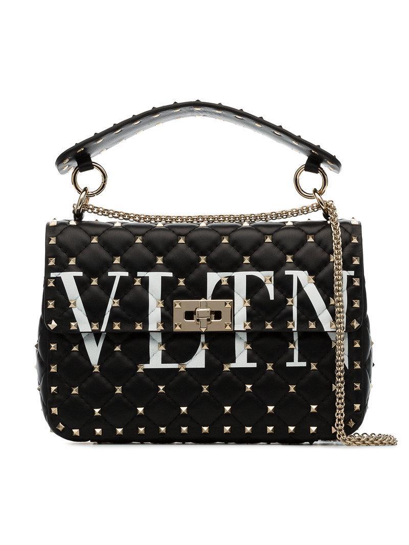 Valentino black VLTN rockstud spike leather shoulder bag Buy Cheap Amazon Low Shipping Fee Sale Online Shopping Online With Mastercard RkzfDdu