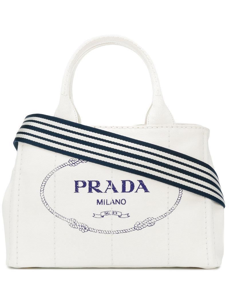 e41e7cf1e98e Prada - White Logo Canvas Tote - Lyst. View fullscreen