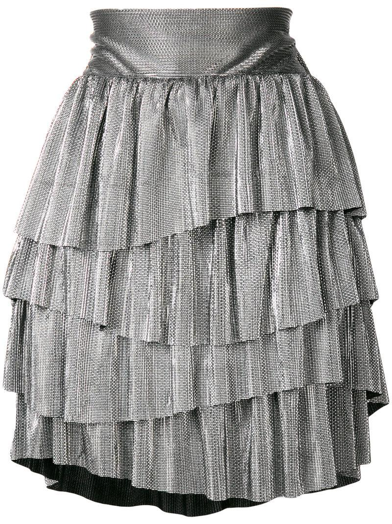 Christian Pellizzari metallic ruffled mini skirt Low Price Sale Online VDkQlVRU