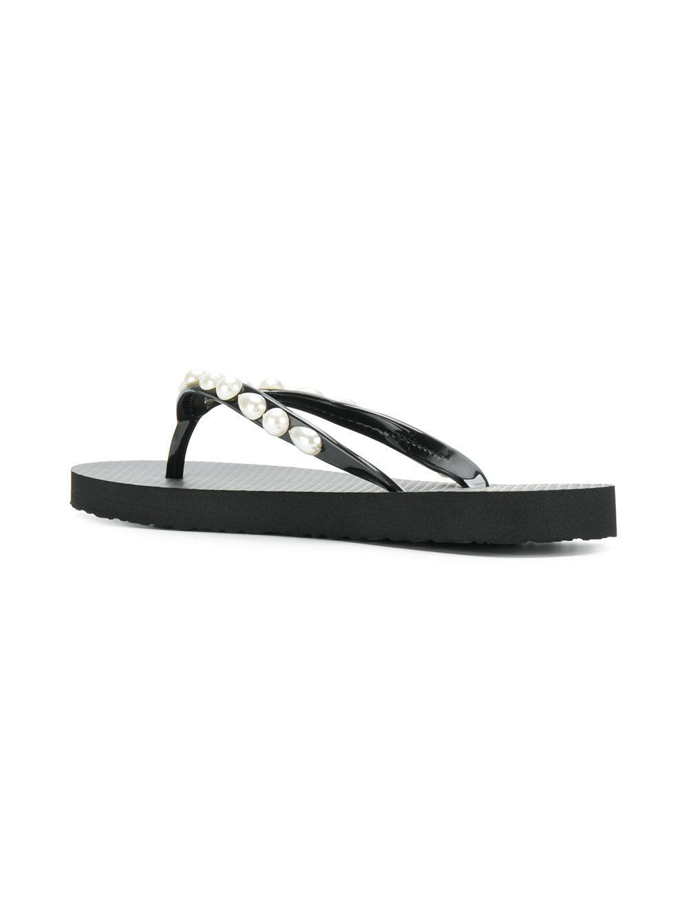 bcd14660a93c Lyst - Tory Burch Pearl Thin Flip-flops in Black