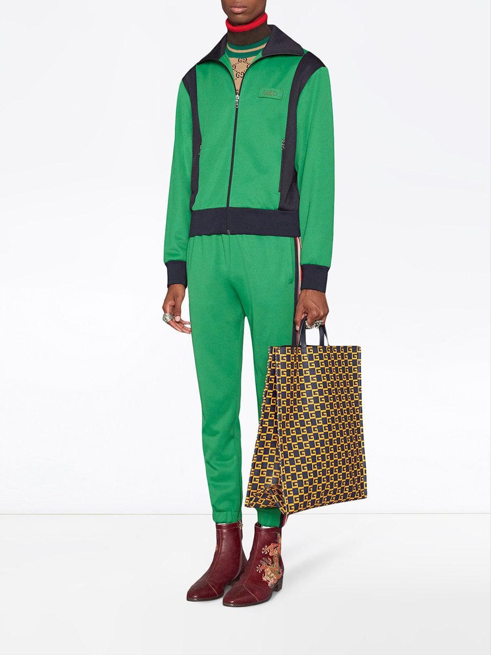 Gucci Tiger Patch Technical Jersey Jacket In Green For Men Save