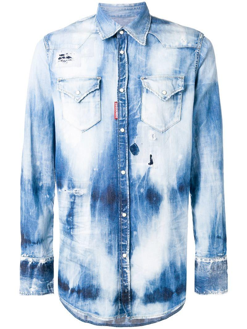 6f983eafaa DSquared² Distressed Denim Shirt in Blue for Men - Save 8% - Lyst
