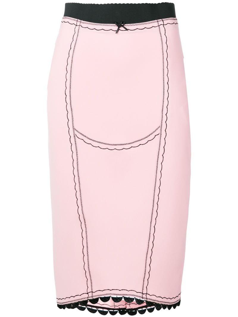 1b350d6854 Lyst - Marco De Vincenzo Embroidered Skirt in Pink