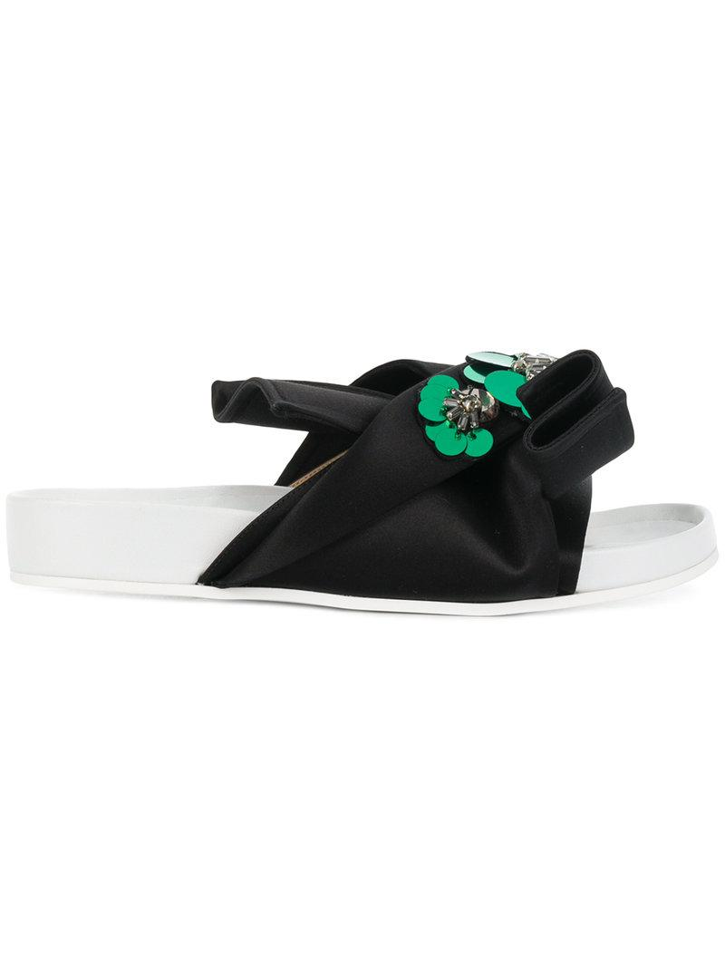 No21 Abstract bow embellished slides h6kcX