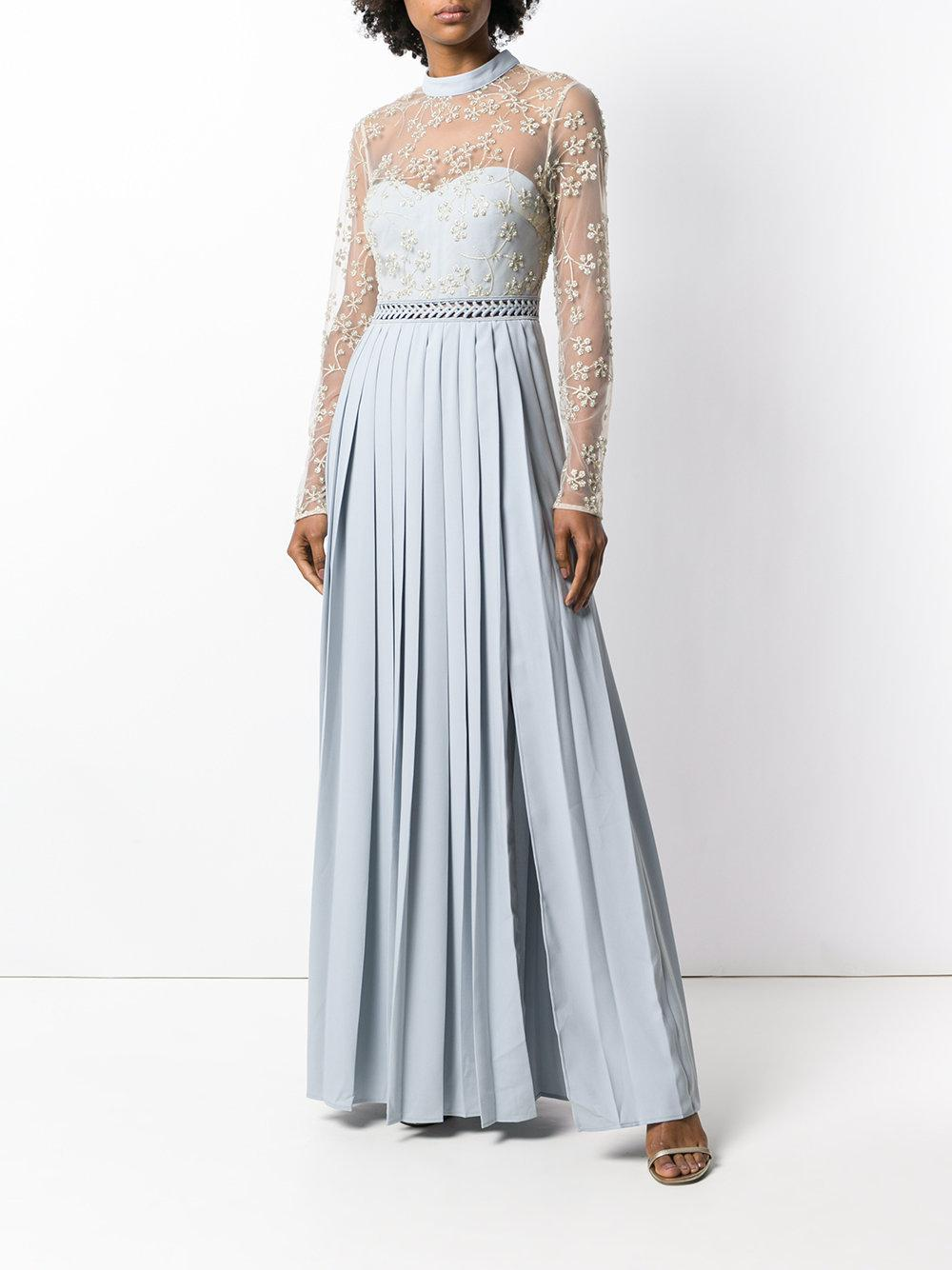 5560212fa4894 Lyst - Self-Portrait Pleated Lace Embellished Dress in Blue