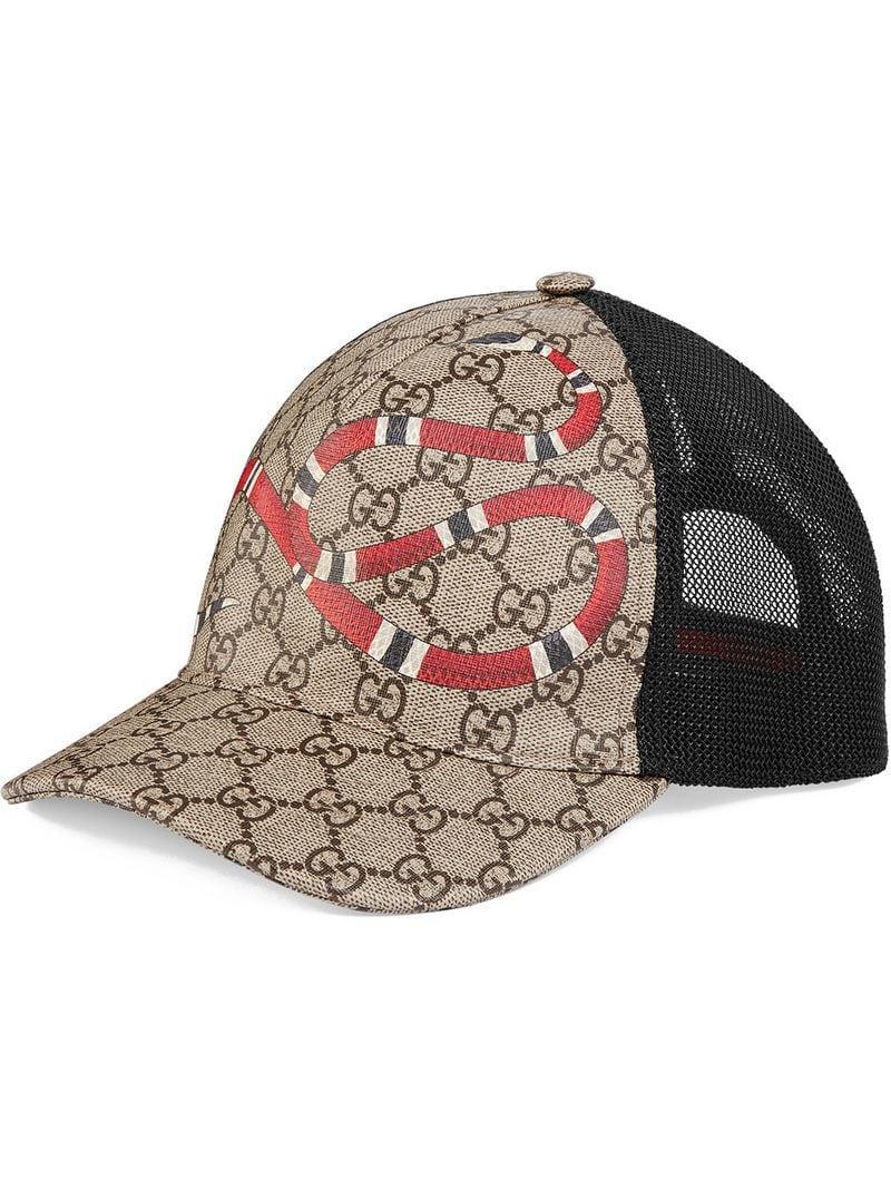 Lyst - Gucci Snake Print Gg Supreme Baseball Hat for Men - Save 33% efc6547e6de7