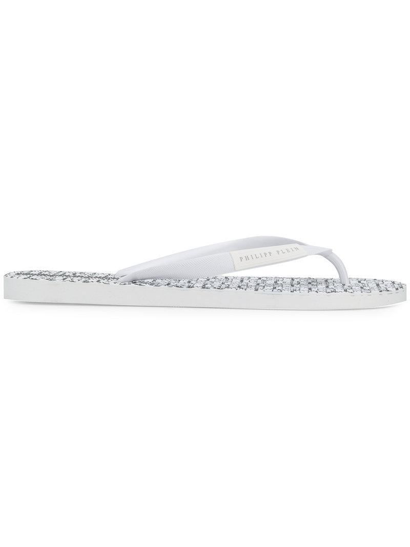 logo embellished flip flops - White Philipp Plein Cheap Price For Sale pSp89