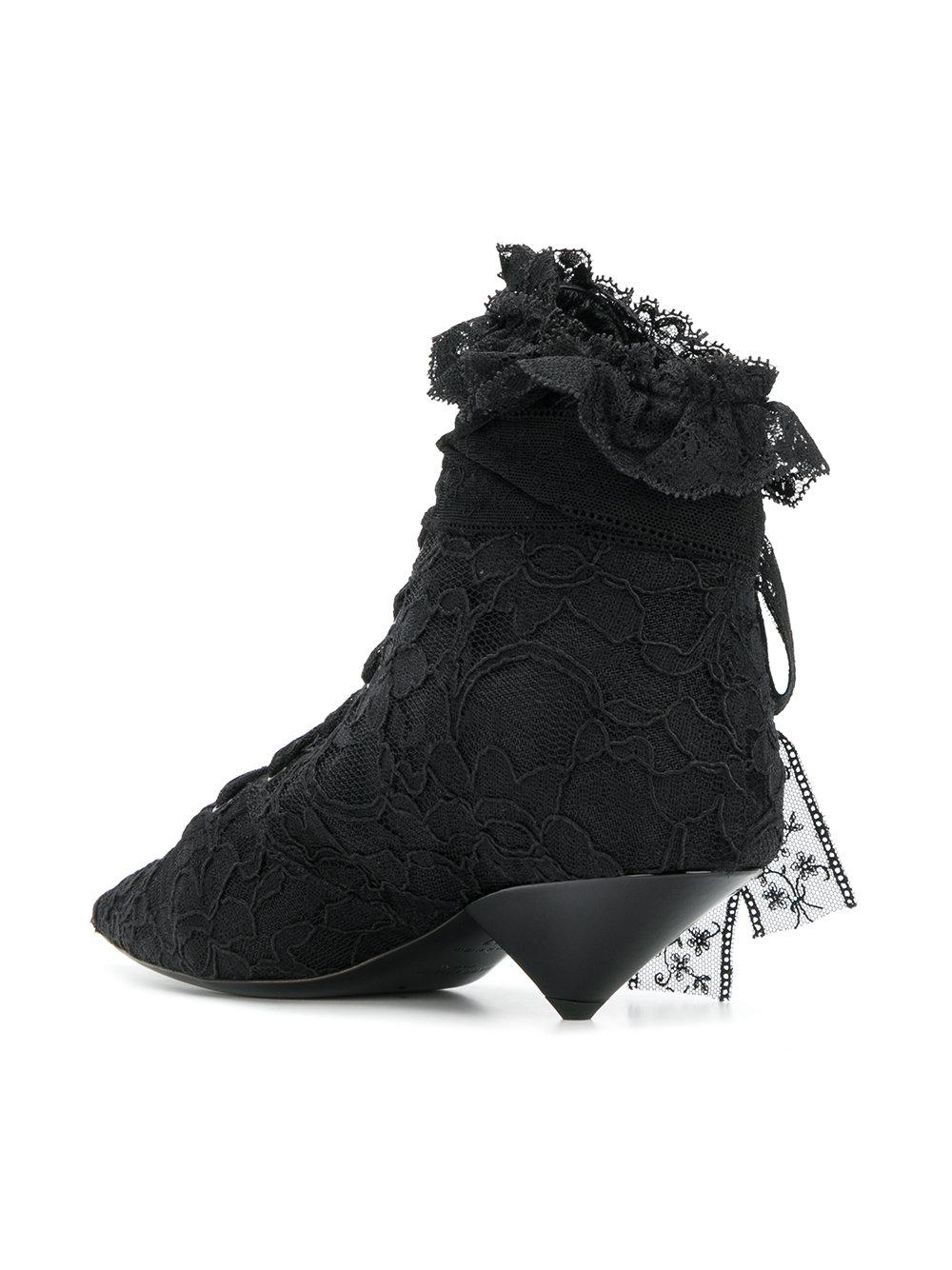 29af73a6f91 Saint Laurent Blaze 45 Lace Ankle Boots in Black - Lyst