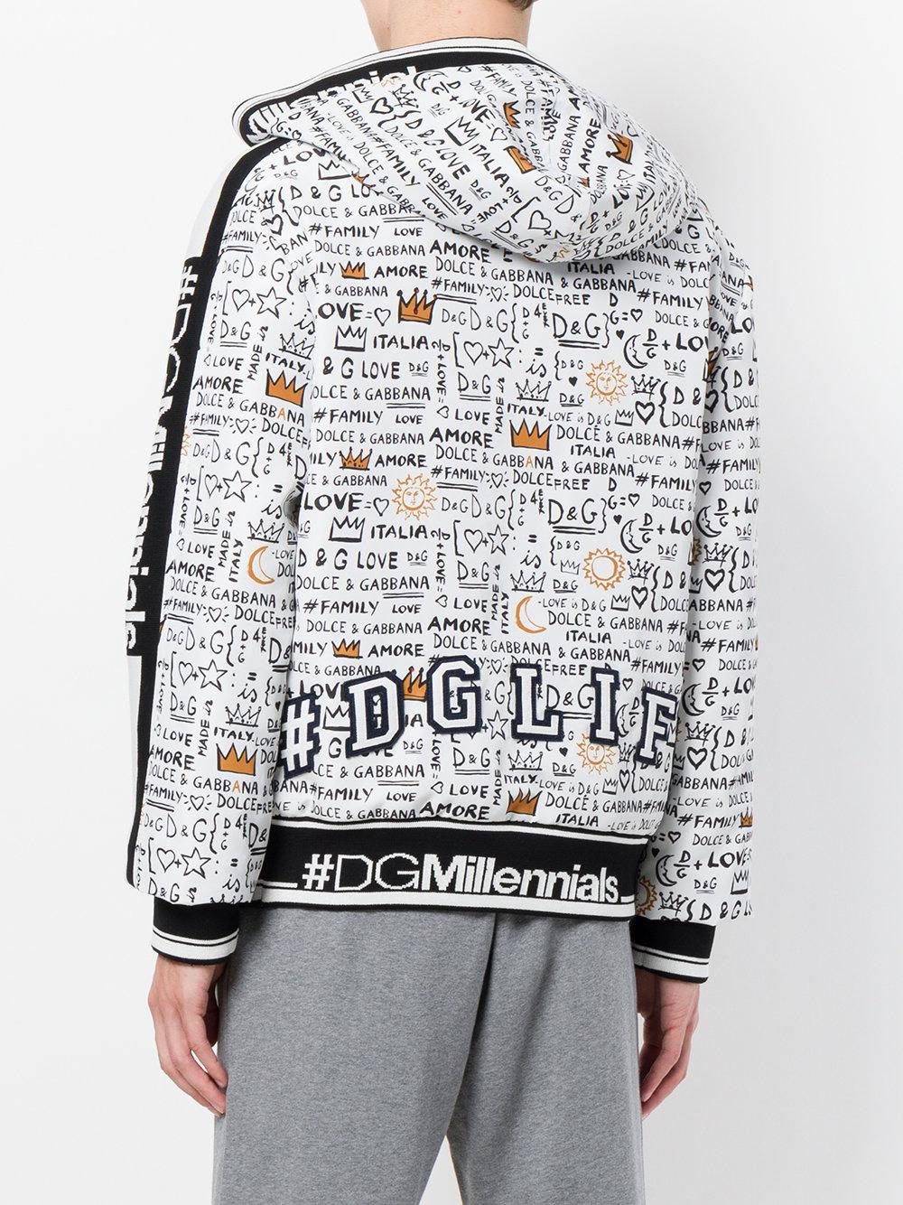 d97ec48beadb0 Sweat zippé à capuche imprimé Dolce & Gabbana pour homme en coloris ...