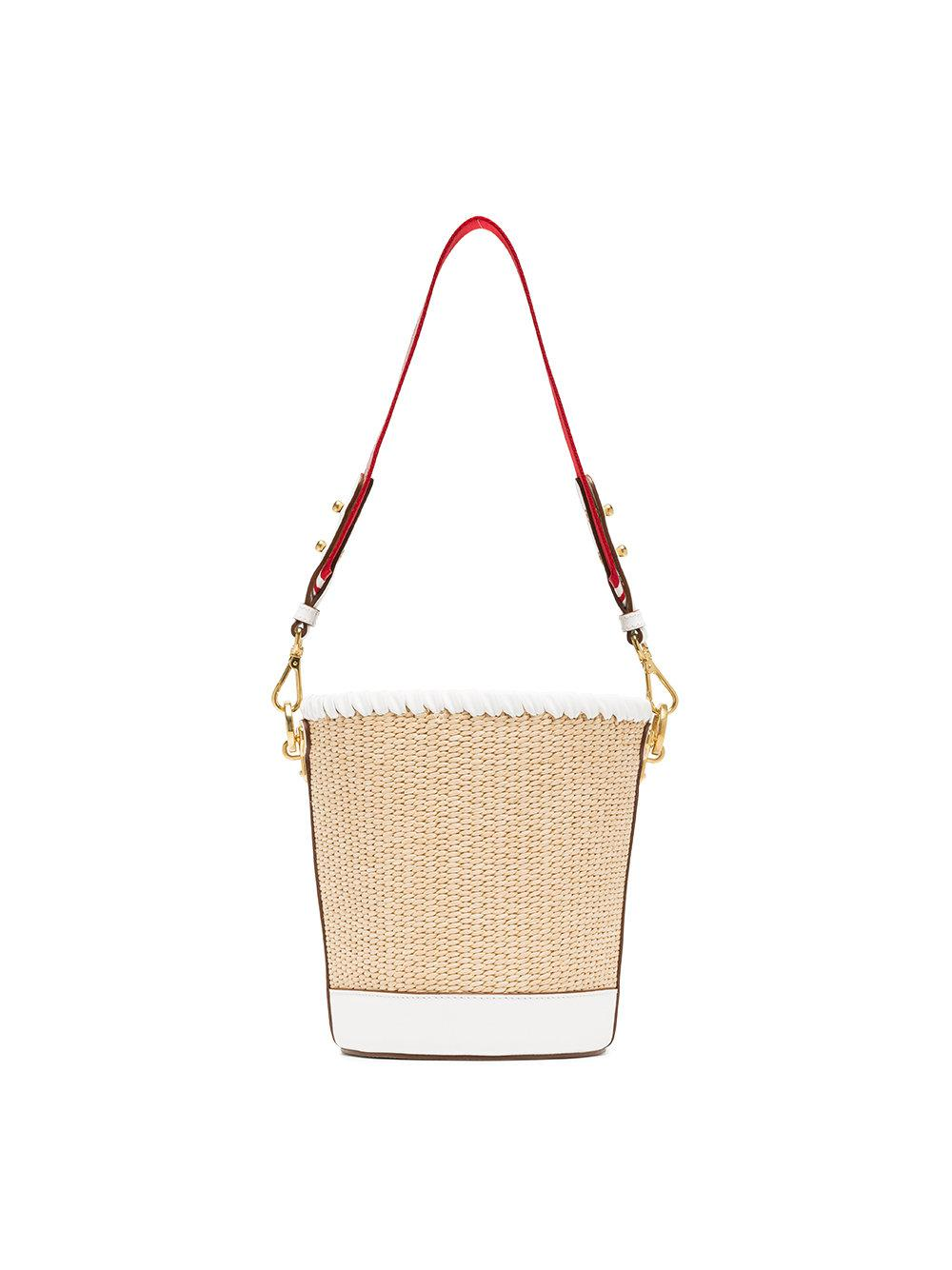a05aa5a87809 ... reduced prada white nude and red logo raffia bucket bag in natural lyst  033d8 22444