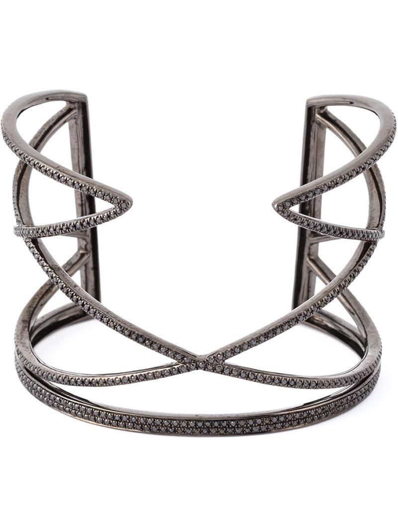 Joëlle Jewellery geometric diamond cuff - Black d5HJQf