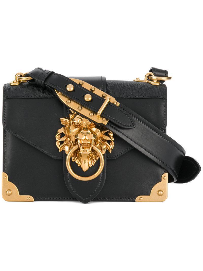6cacbe8677d4 Prada Cahier Lion-embellished Shoulder Bag in Black - Lyst