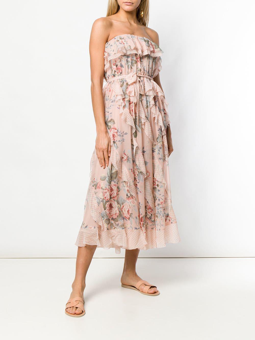 b0827fc5dc Zimmermann - Pink Floral Print Midi Dress - Lyst. View fullscreen