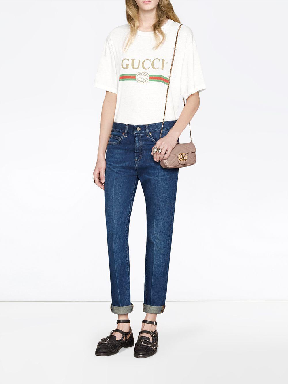 047d6a59402 Lyst - Gucci GG Marmont Matelassé Leather Super Mini Bag - Save 7%