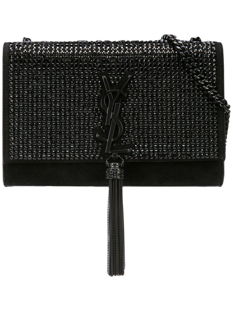 b1cca540c622 Saint Laurent Studded Monogram Clutch Bag in Black - Lyst