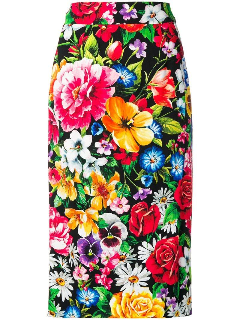 02b631b9a Lyst - Dolce & Gabbana Floral Print Pencil Skirt in Black