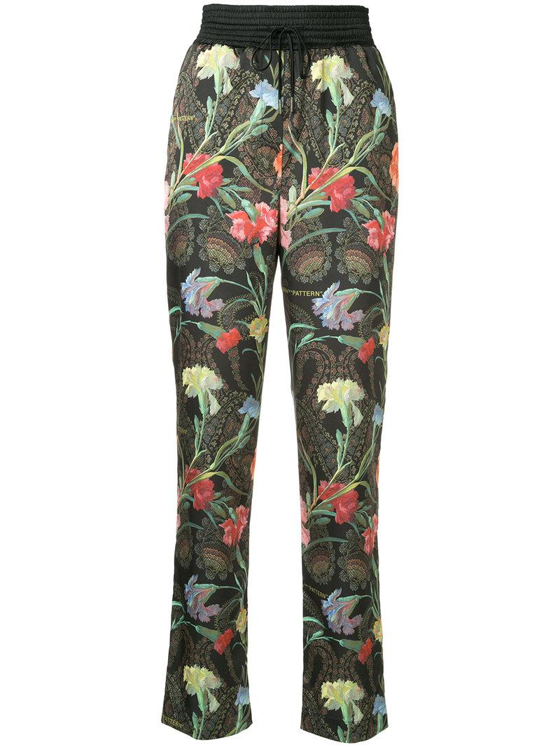 4d1c303f190e Lyst - Off-White c o Virgil Abloh Floral Print Trousers in Black