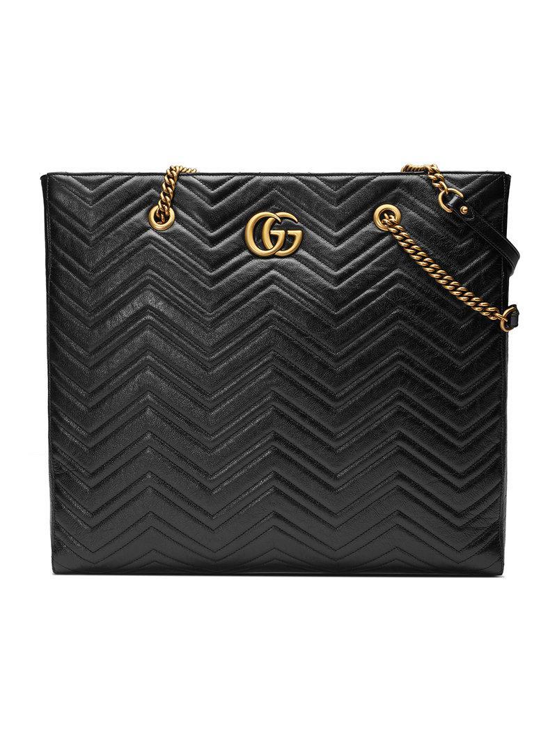 Lyst - Gucci Gg Marmont Matelassé Large Tote in Black 344c51e1b037a