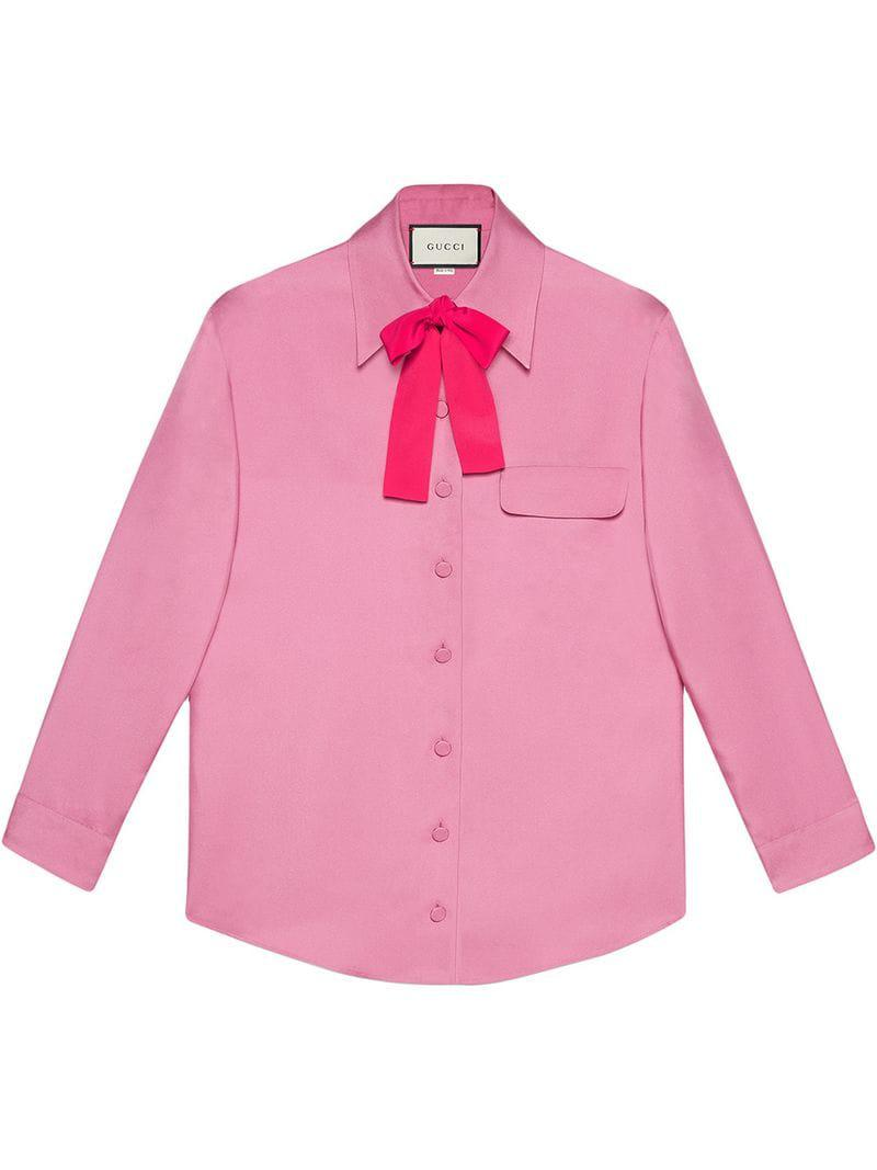 3baafd777 Gucci - Pink Silk Bow Shirt - Lyst. View fullscreen