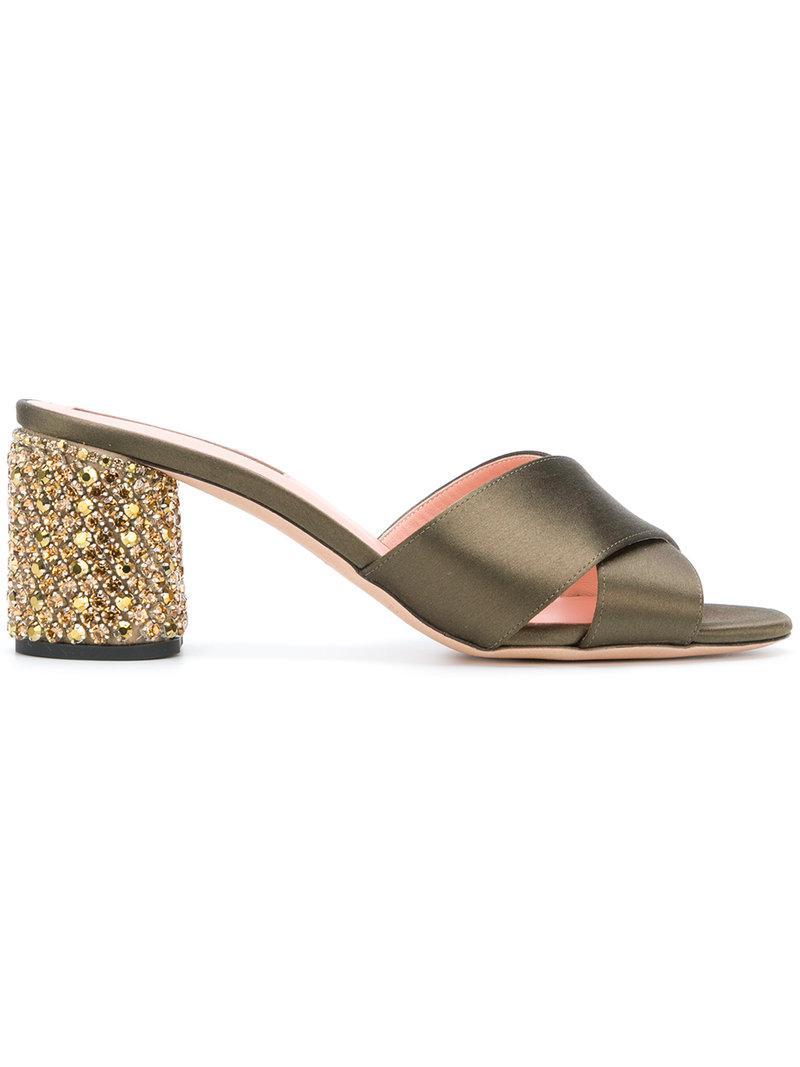 cross strap embellished sandals - Green Rochas puhtE