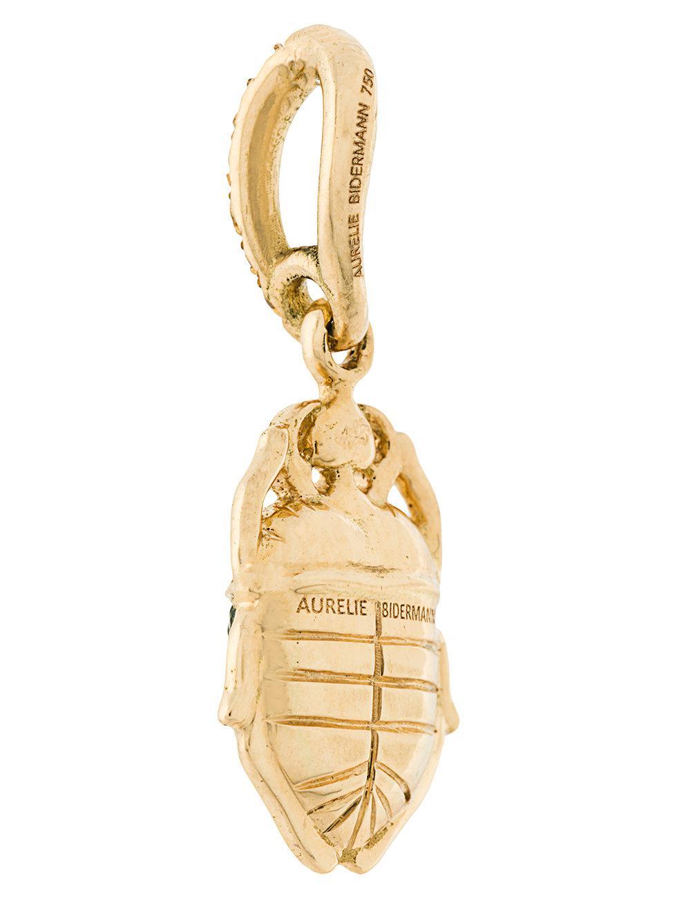 Aurélie Bidermann mini Scarab tsavorite and diamond pendant - Metallic ZIpJZXlX