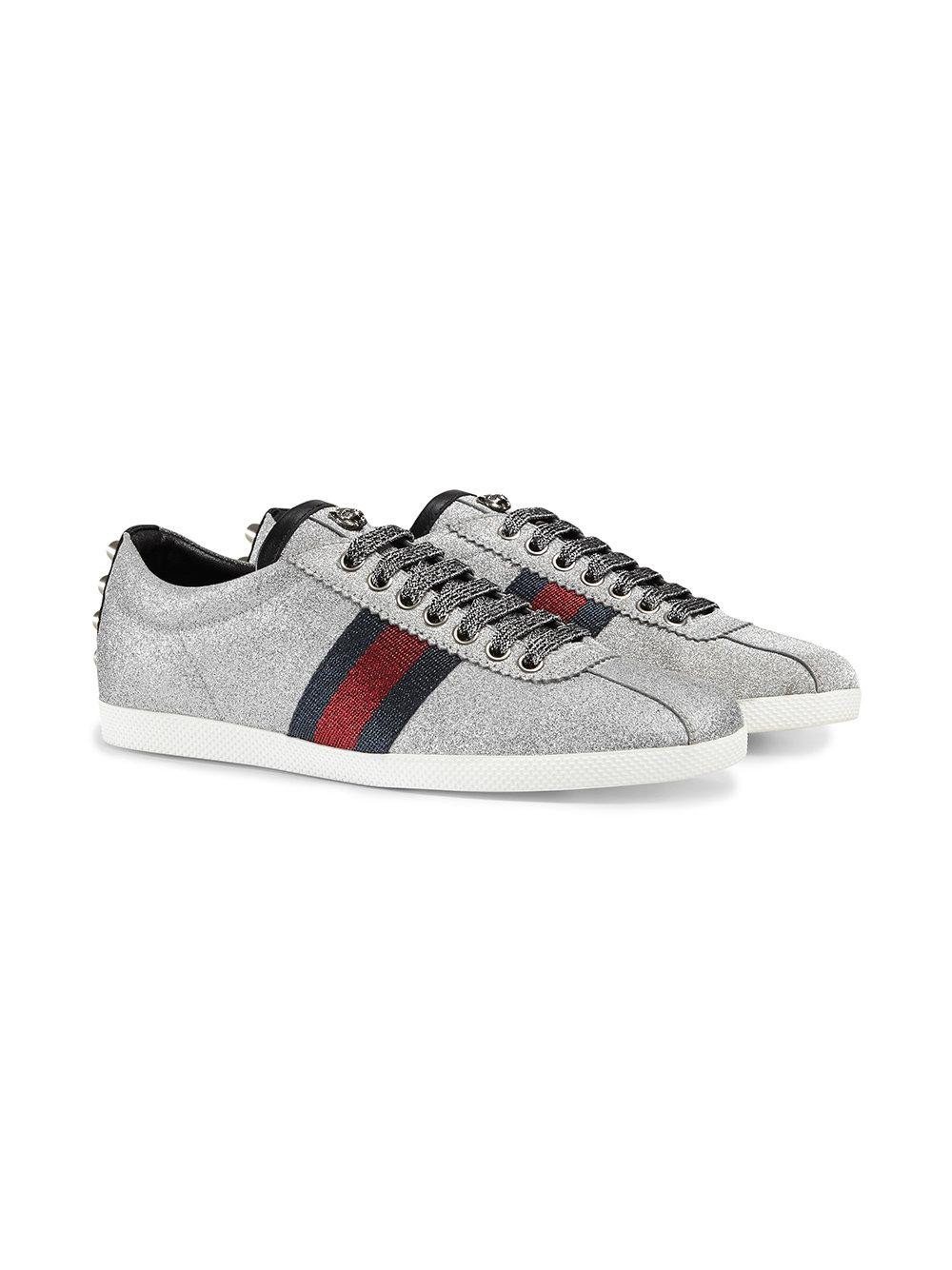 08d995224dd Lyst - Gucci Glitter Web Sneakers With Studs in Gray - Save 5%