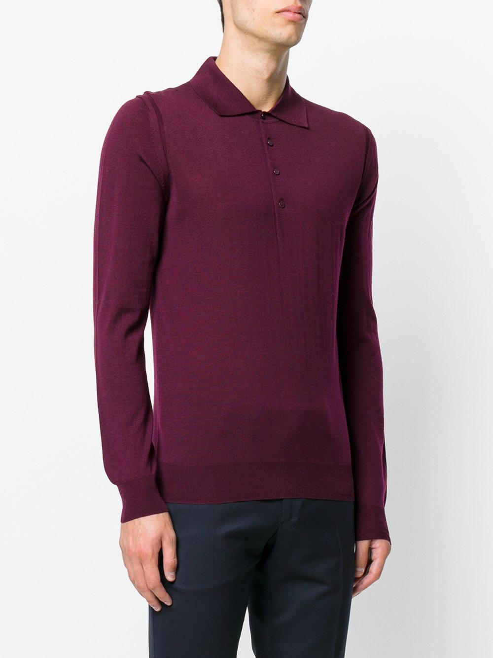 Lyst paolo pecora long sleeve polo shirt in purple for men for Long sleeve purple polo shirt