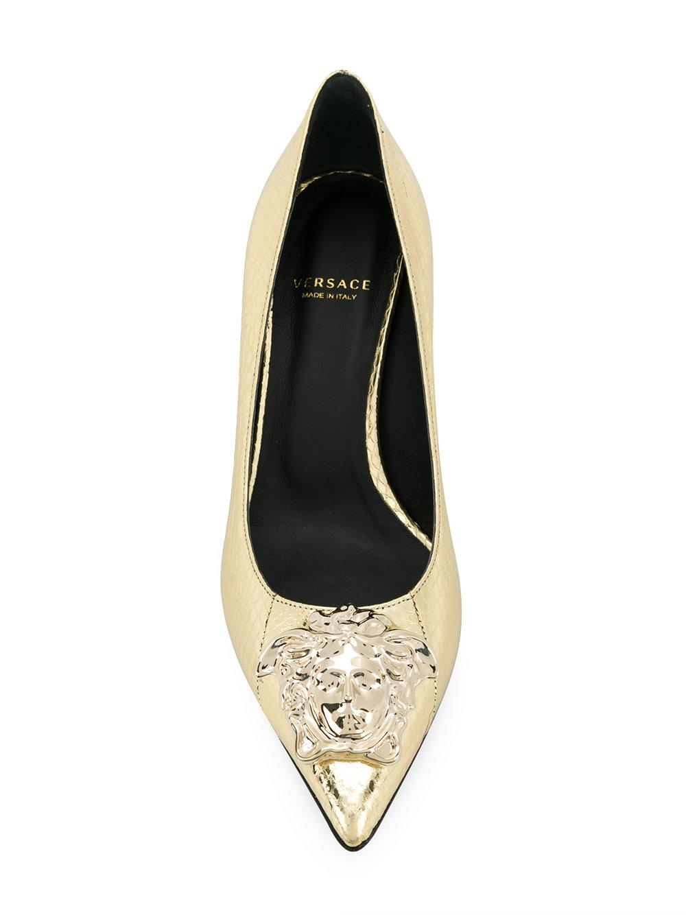 0d7777d8c41f Versace - Metallic Medusa Pumps - Lyst. View fullscreen
