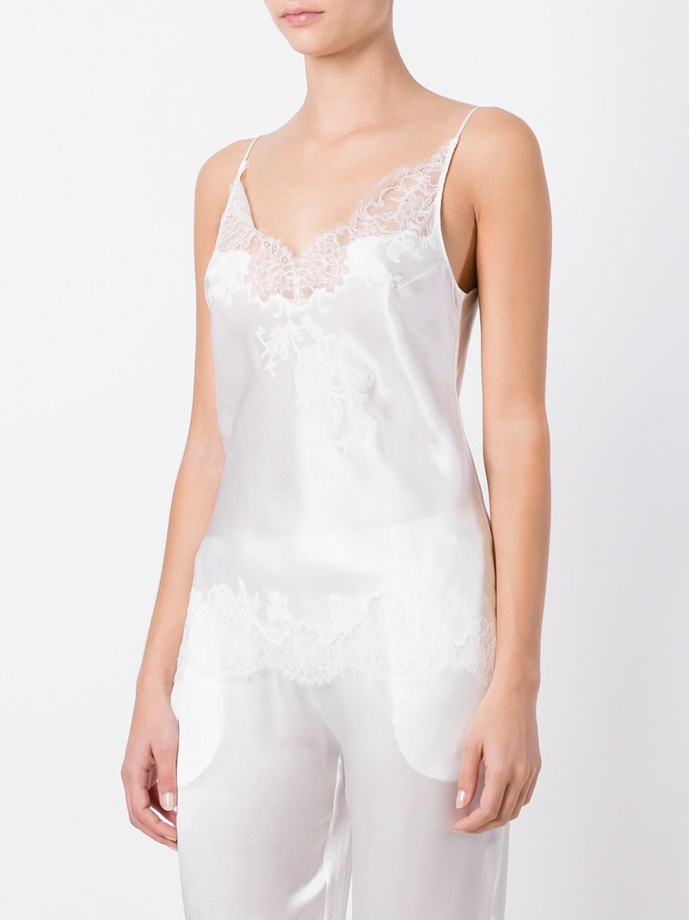 e757e15a0dd7 Carine Gilson Lace V-neck Camisole in White - Lyst