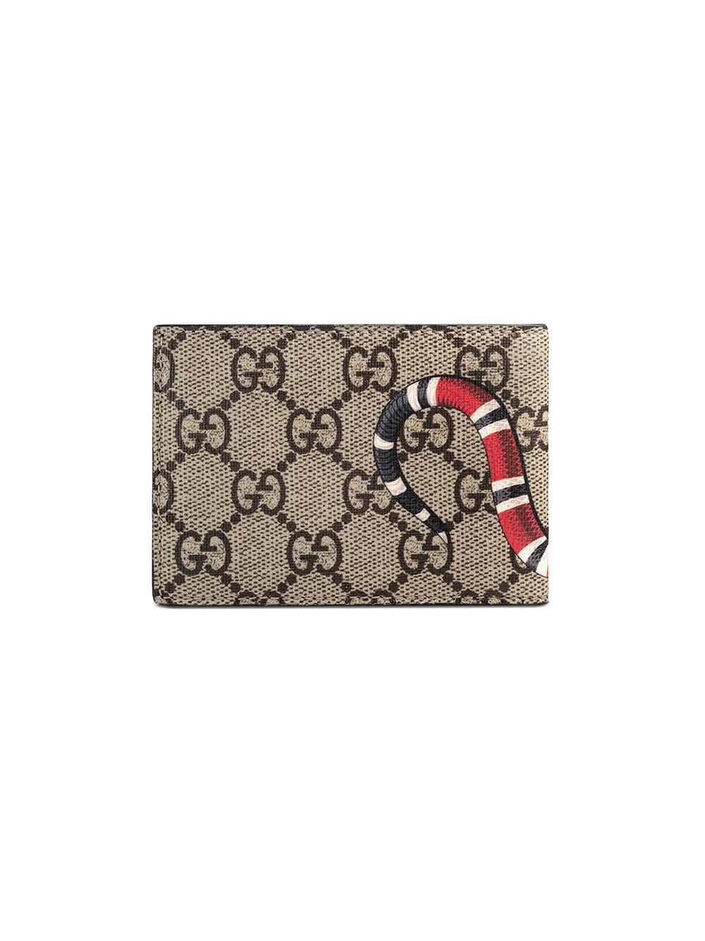 6b4b4ee1574 Gucci - Multicolor Kingsnake Print GG Supreme Wallet for Men - Lyst. View  fullscreen