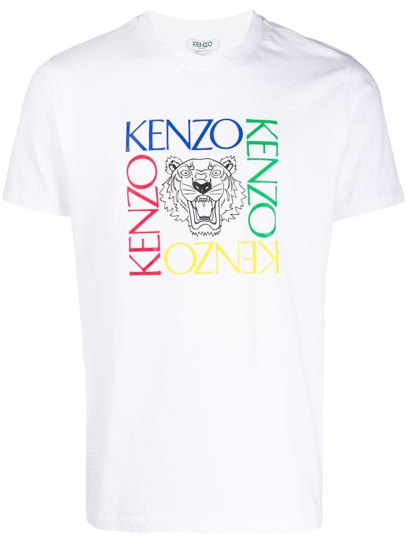 ea45c7e9 KENZO - White Logo T-shirt for Men - Lyst. View fullscreen