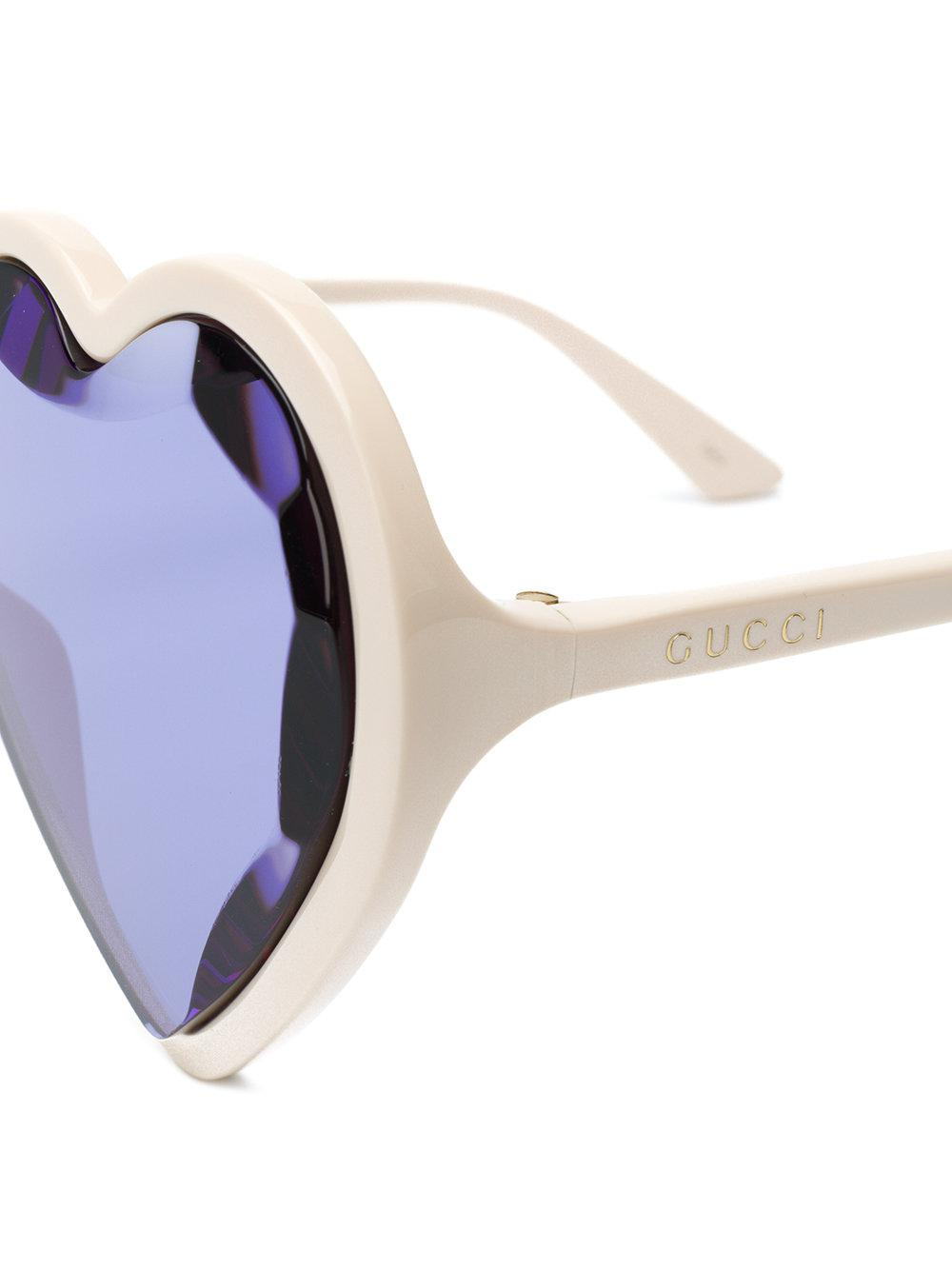 3c9c4cb01c8 Gucci - White Jeweled Heart Shape Sunglasses - Lyst. View fullscreen