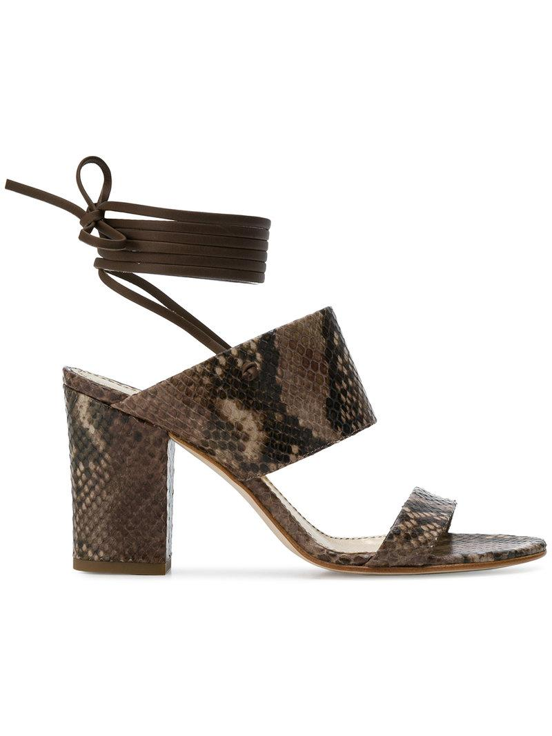 snakeskin effect lace up sandals - Brown Antonio Barbato peoXVVLZP
