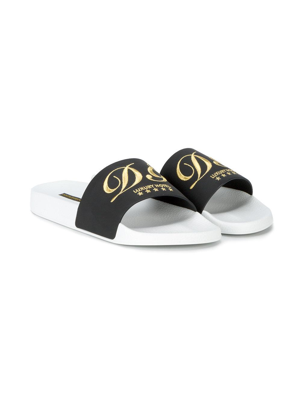 98fe9e377bb Dolce   Gabbana - Black Luxury Hotel Embroidered Slides for Men - Lyst.  View fullscreen