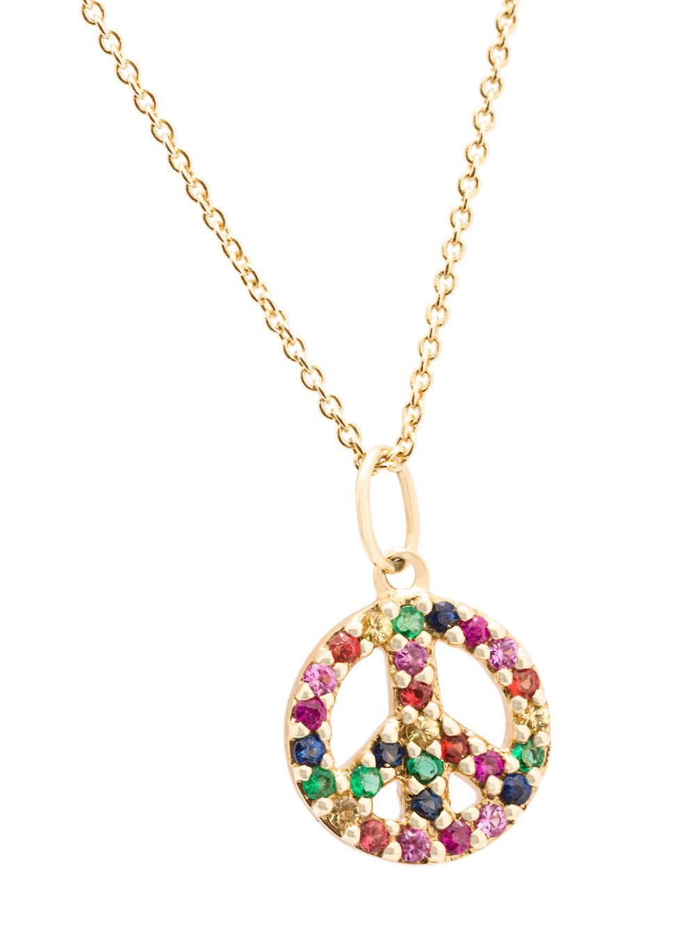 Sydney Evan small 14kt yellow gold gemstone peace necklace Low Shipping Sale Online sNXw3GeZNF