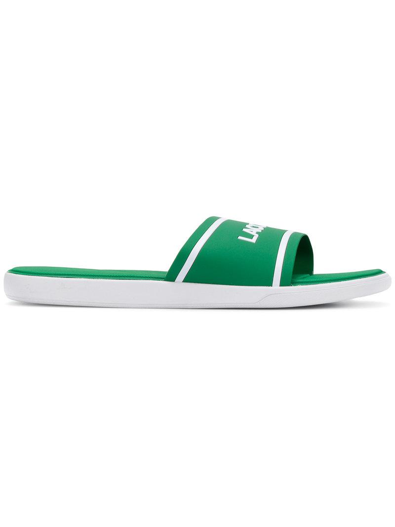 classic logo slides - Green Lacoste T8uH0B