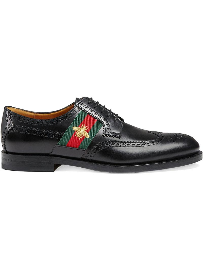 0807f82f9 Gucci Leather Lace-up With Bee Web in Black for Men - Lyst