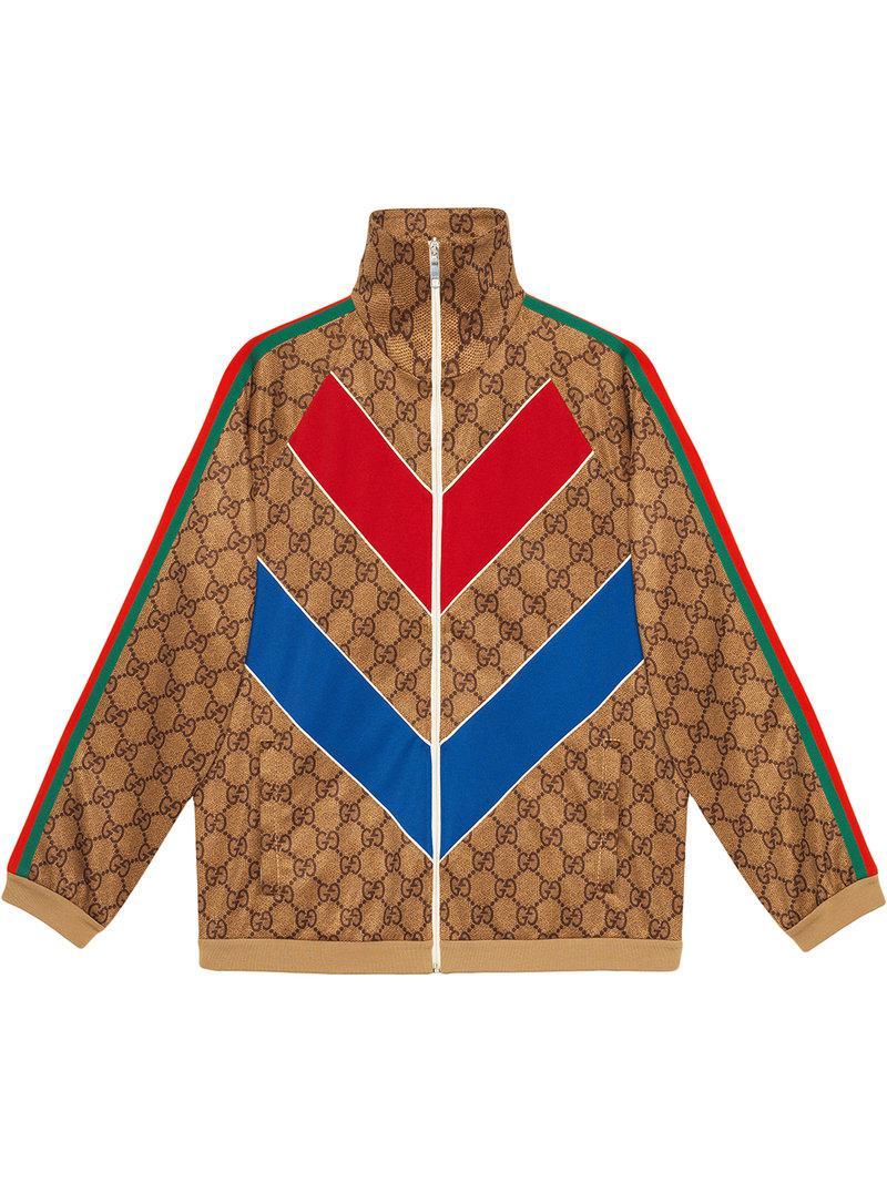 18f98b5ebb8 Lyst - Veste zippée à imprimé GG Gucci pour homme en coloris Marron