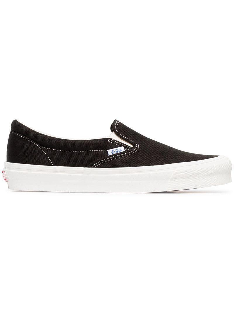 c56c8ec971c3e6 Lyst - Vans Black And White Ua Classic Slip-on Dx Cotton Sneakers in ...