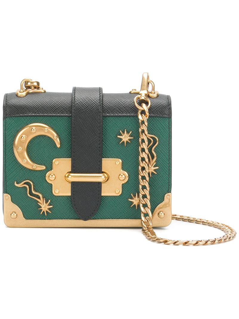 7efe75139e3b Prada Cahier Mini Moon And Stars Bag in Green - Lyst