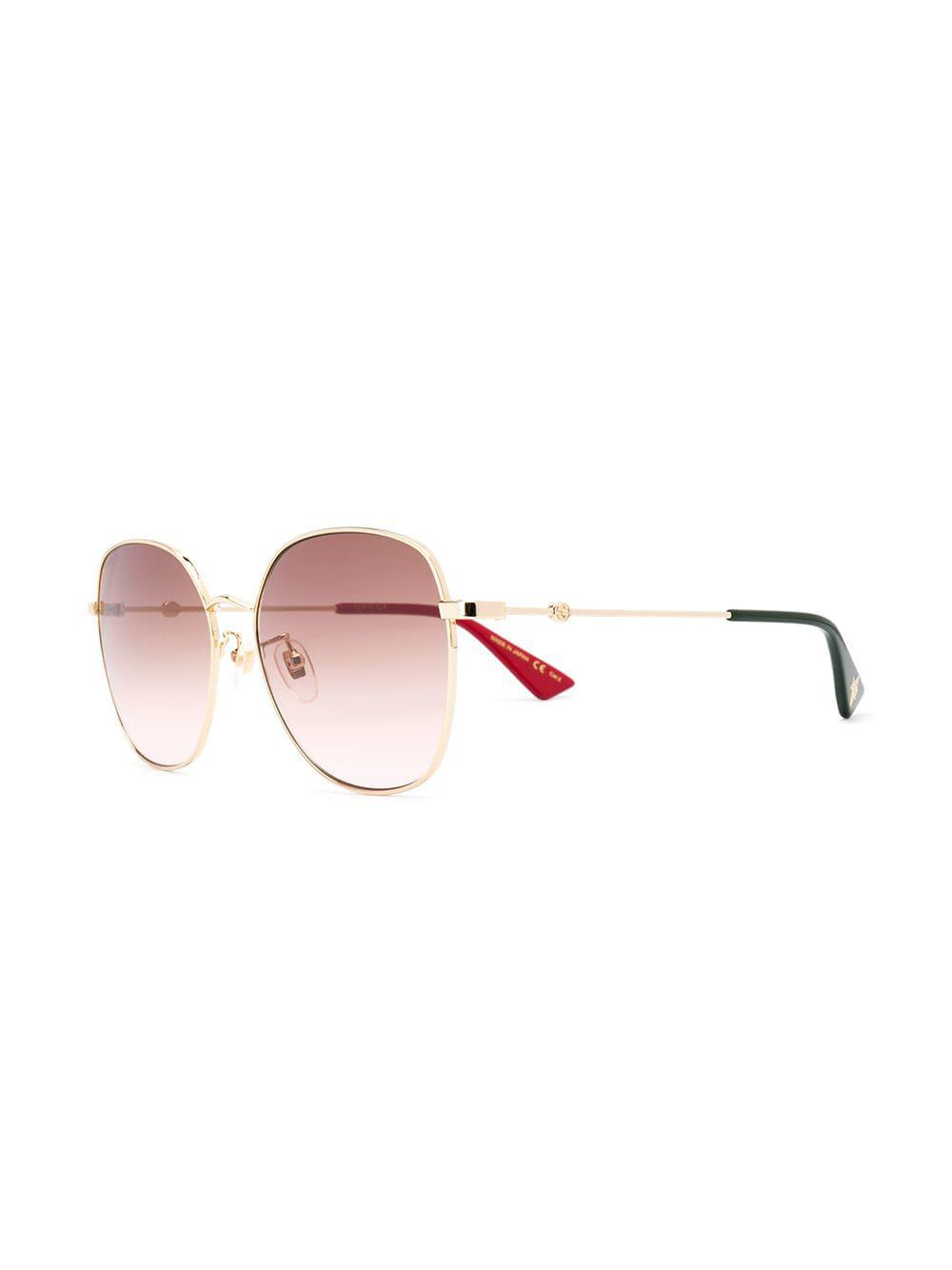 1d036fcb641 Gucci Square Frame Sunglasses in Metallic - Lyst