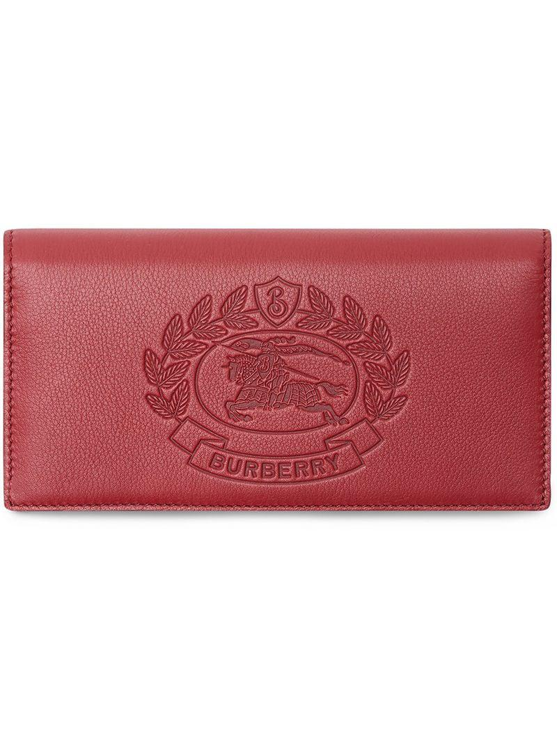d818f295f66cc Burberry Embossed Crest Leather Continental Wallet in Pink for Men ...