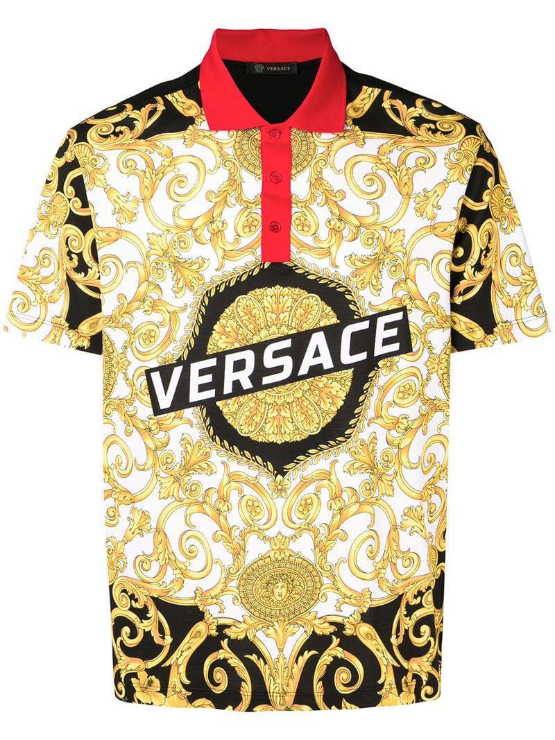 3ee2f449 Versace - Black Printed Polo Shirt for Men - Lyst. View fullscreen