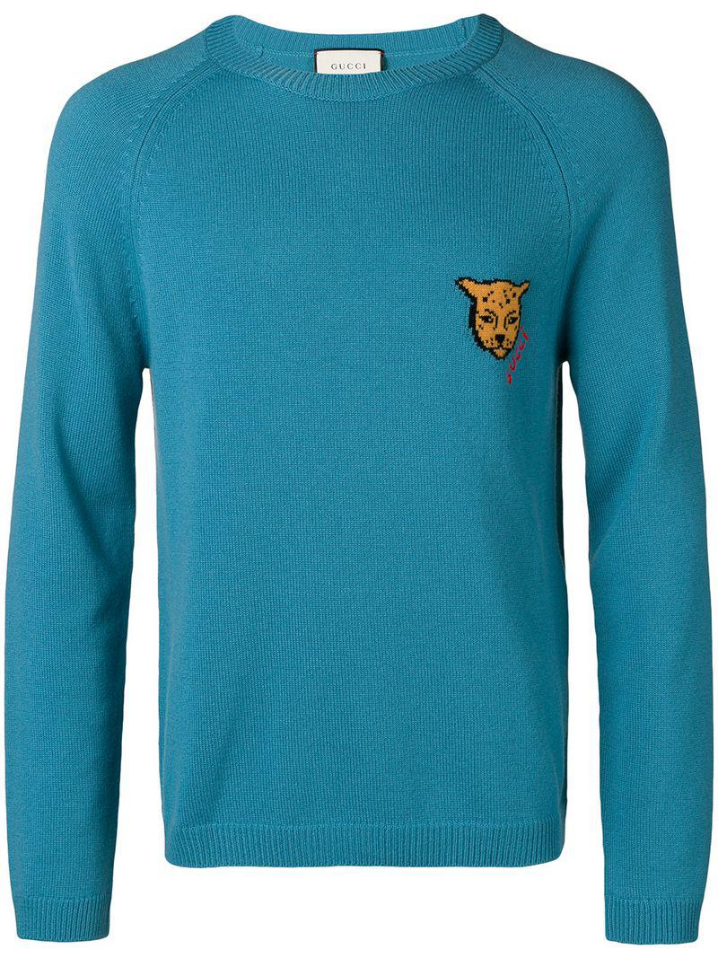 42ee19a59fe62 Gucci Intarsia-knit Jumper in Blue for Men - Lyst