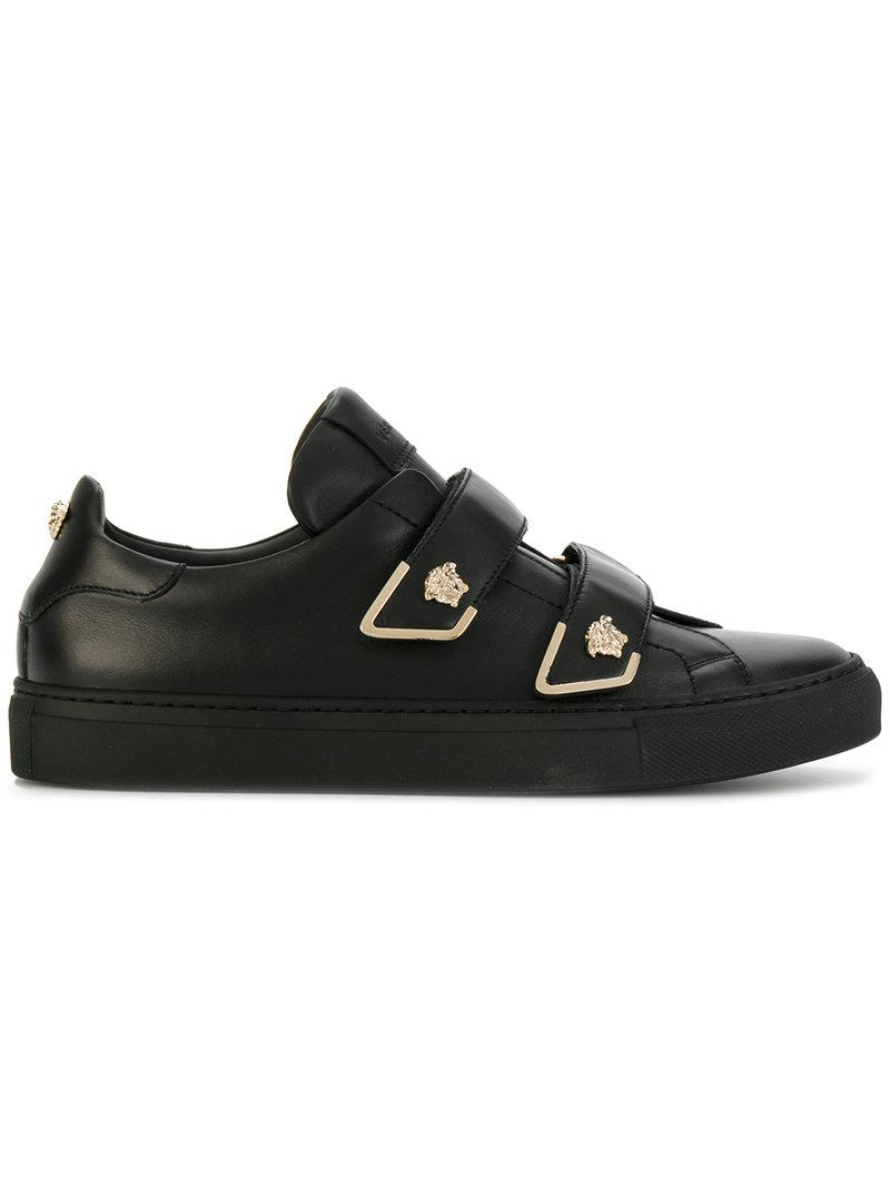 versace medusa touch strap sneakers in black lyst. Black Bedroom Furniture Sets. Home Design Ideas