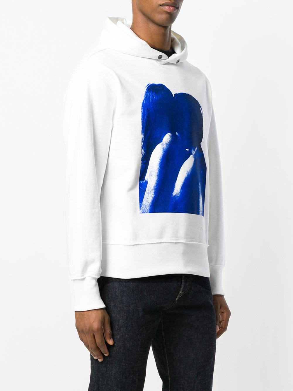 Lyst M I S B H V Printed Hooded Sweatshirt In White For Men
