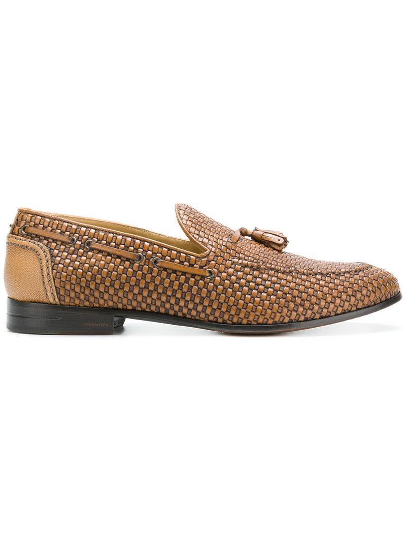 Brimarts. Men's Brown Woven Tassel Loafers