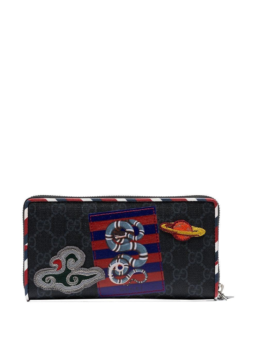 d78907440 Gucci - Black Night Courier Applique Canvas Wallet for Men - Lyst. View  fullscreen