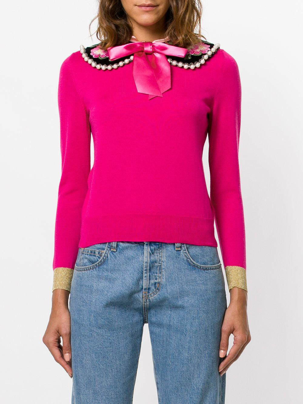 Gucci Peter Pan Collar Cashmere Sweater in Pink | Lyst